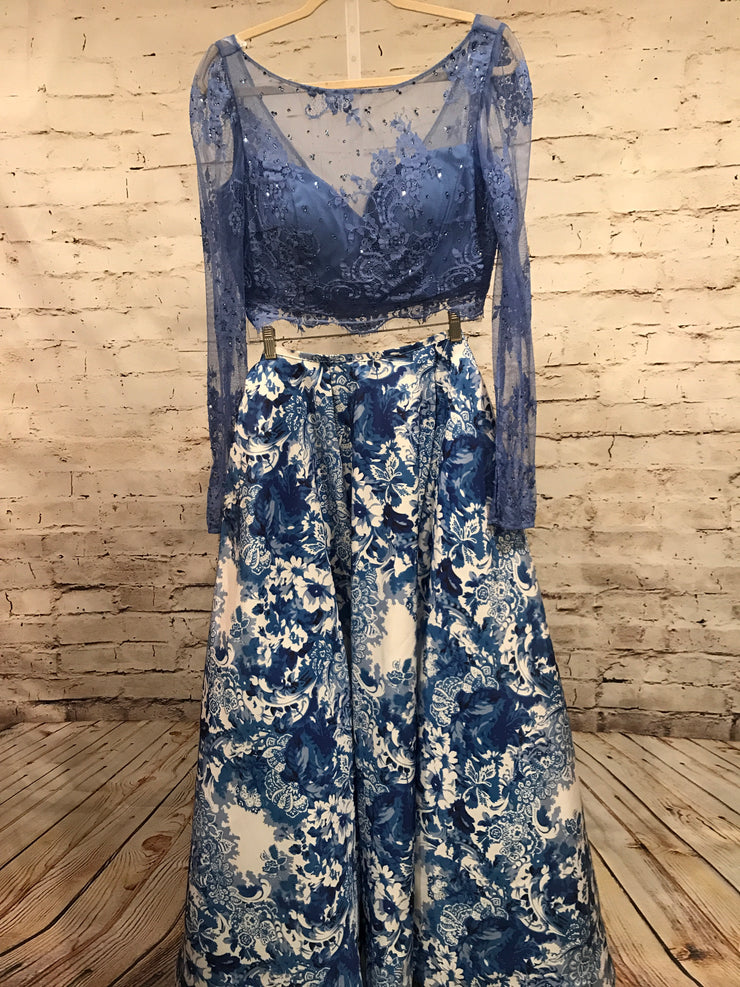 BLUE/WHITE 2 PC. A LINE GOWN