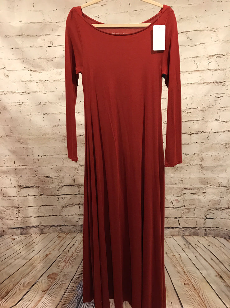 NEW - ORANGE LONG SLEEVE LONG DRESS
