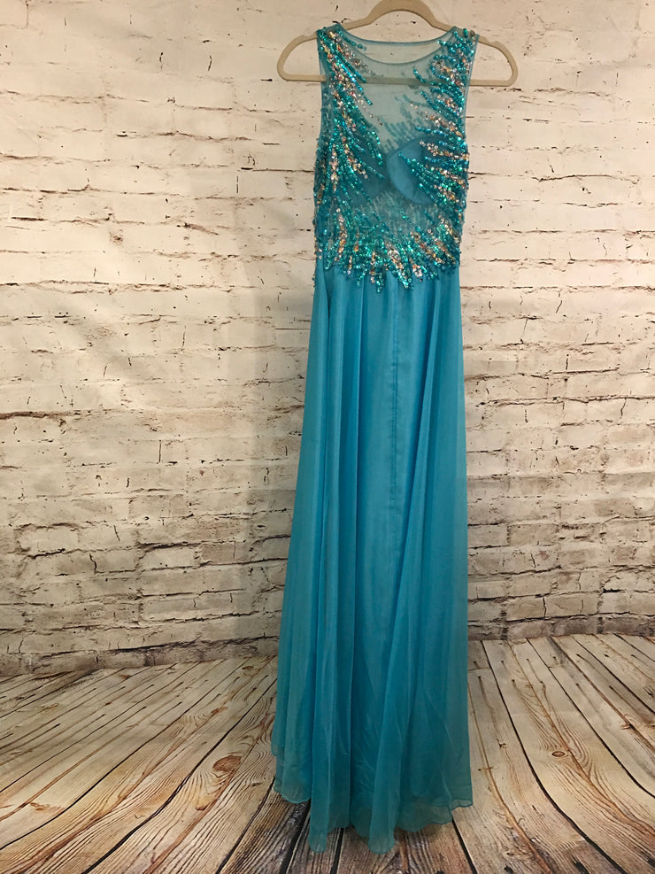 AQUA BEADED MESH LONG GOWN