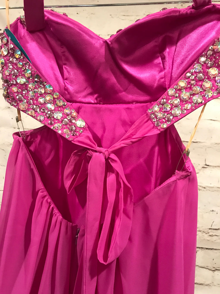 PINK/PURPLE HALTER LONG GOWN