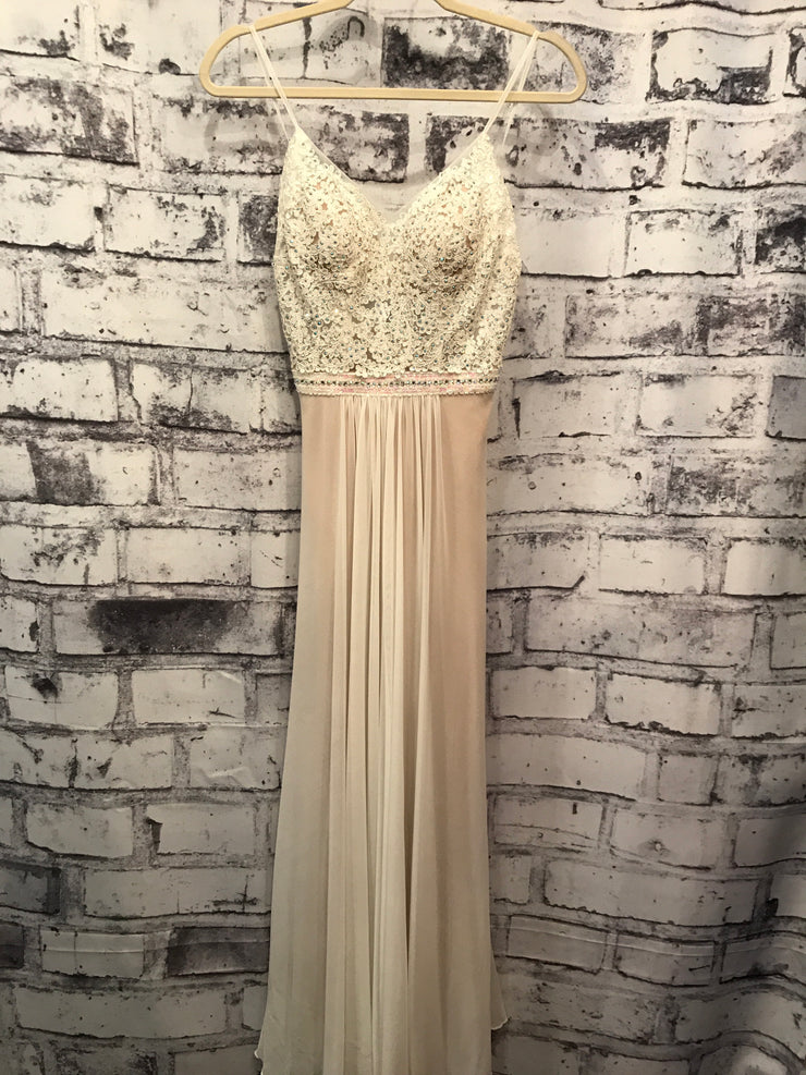 IVORY/TAN LONG EVENING GOWN