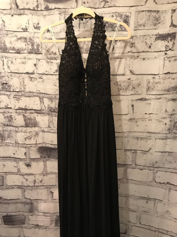 BLACK LONG EVENING GOWN W/ OPEN BACK
