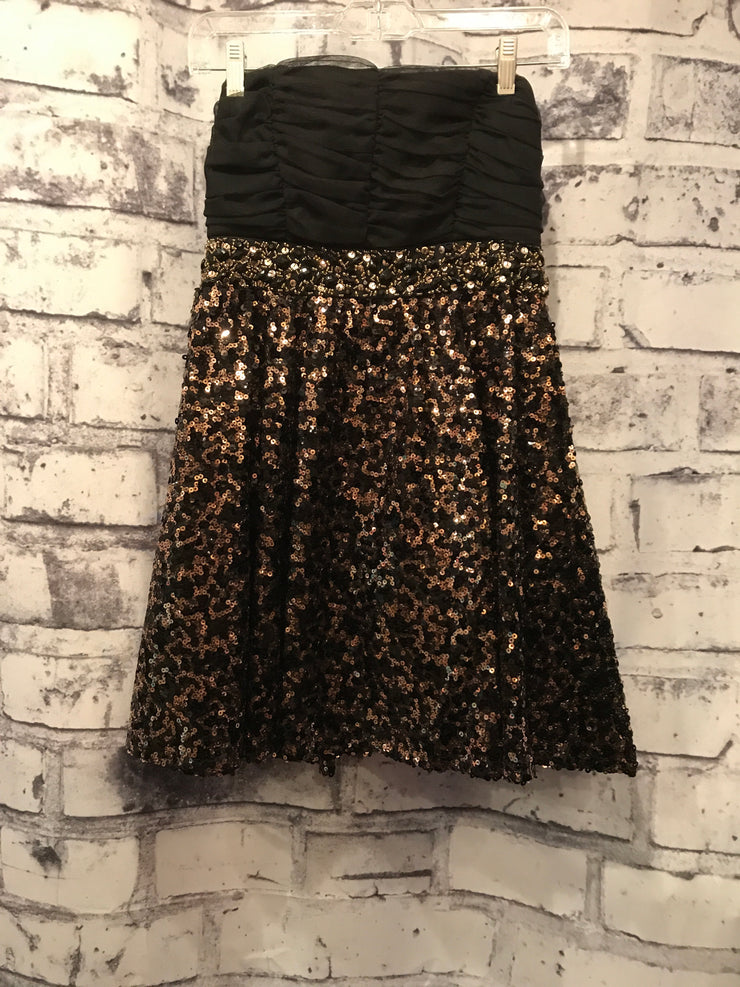 BLACK/GOLD BEADED SHORT DRESS
