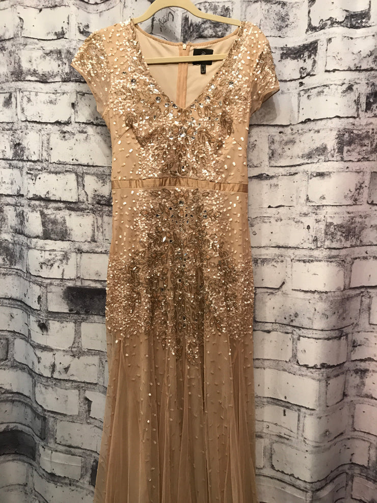 TAN BEADED LONG EVENING GOWN