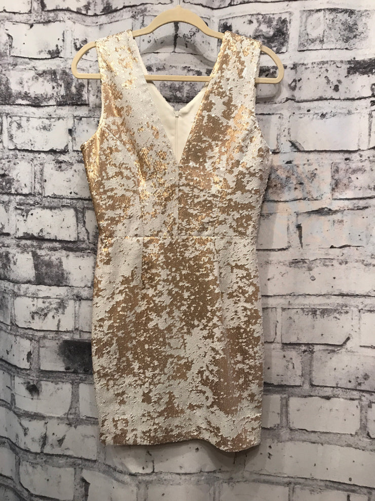 GOLD/WHITE SEQUIN SHORT DRESS
