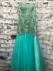 AQUA BEADED MERMAID GOWN