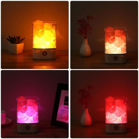 Lampe Himalaya Cristal Sel Design Couleur Veilleuse Purificateur D'air