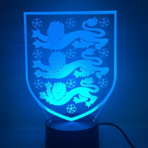 Angleterre The Three Lions Lampe optique LED illusion 3D ⚽ - Ma Deco Maison