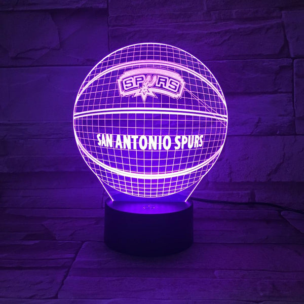 San Antonio Spurs Lampe optique LED illusion 3D 🏀 - Ma Deco Maison