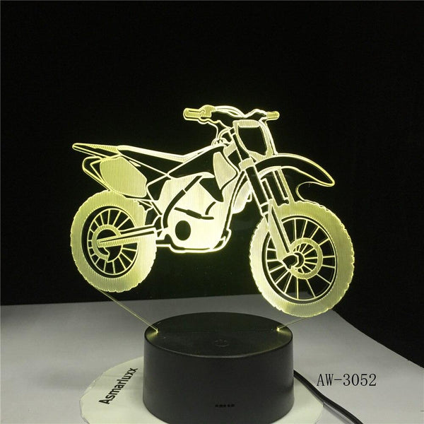Moto Lampe optique LED illusion 3D 🏍 - Ma Deco Maison
