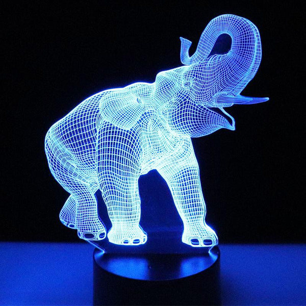 Éléphant Lampe optique LED illusion 3D 🐘 - Ma Deco Maison