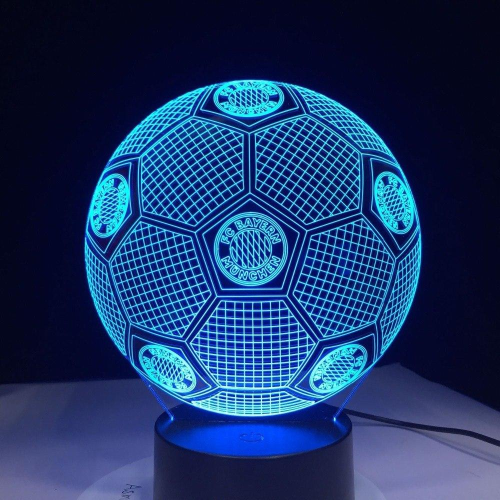 FC Bayern Munich Ballon Lampe optique LED illusion 3D ⚽ - Ma Deco Maison