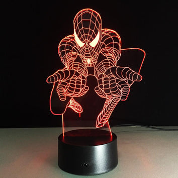 Spider-man Lampe optique LED illusion 3D #2 - Ma Deco Maison