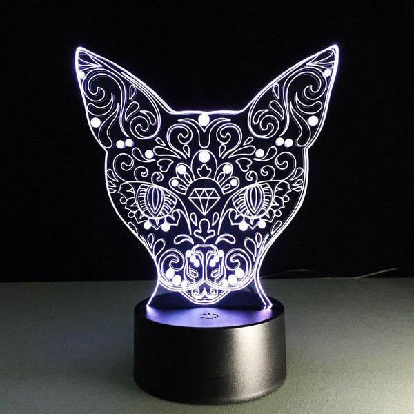 Chat artistique Lampe optique LED illusion 3D 🐱 - Ma Deco Maison