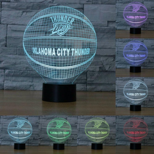 Oklahoma City Thunder Lampe optique LED illusion 3D 🏀 - Ma Deco Maison