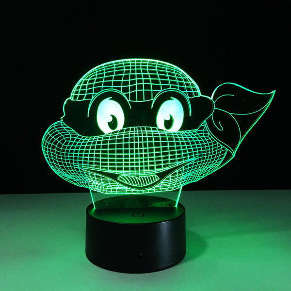 Tortue Ninja Lampe optique LED illusion 3D 🐢 - Ma Deco Maison