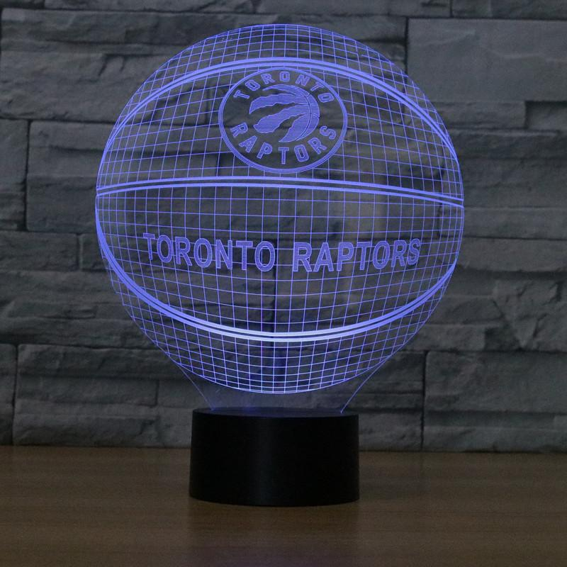 Toronto Raptors Lampe optique LED illusion 3D 🏀 - Ma Deco Maison