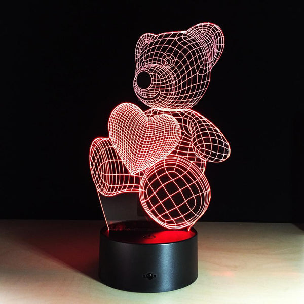 Ours Lampe optique LED illusion 3D 🐻 - Ma Deco Maison