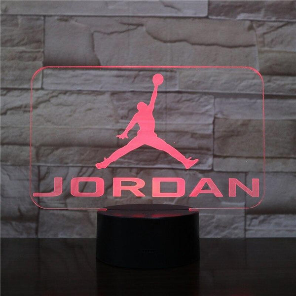 Jordan NBA Basket-Ball Lampe optique LED illusion 3D 🏀 - Ma Deco Maison