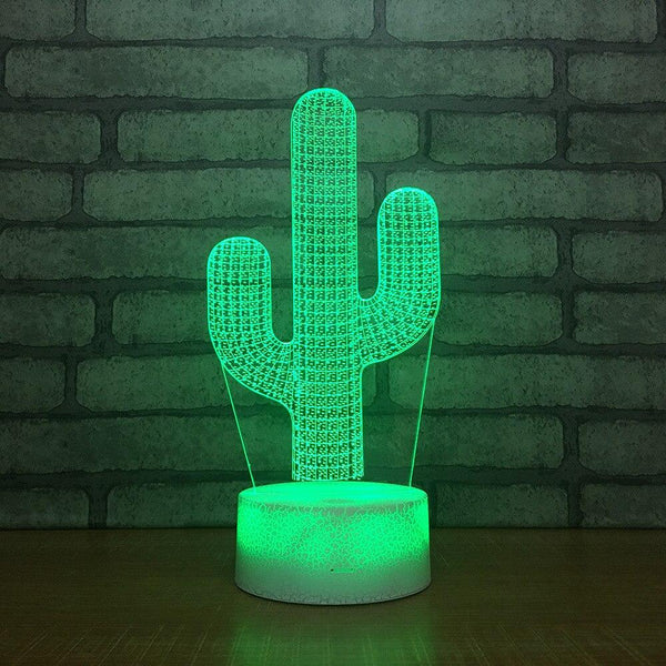 Cactus Lampe optique LED illusion 3D 🌵 - Ma Deco Maison