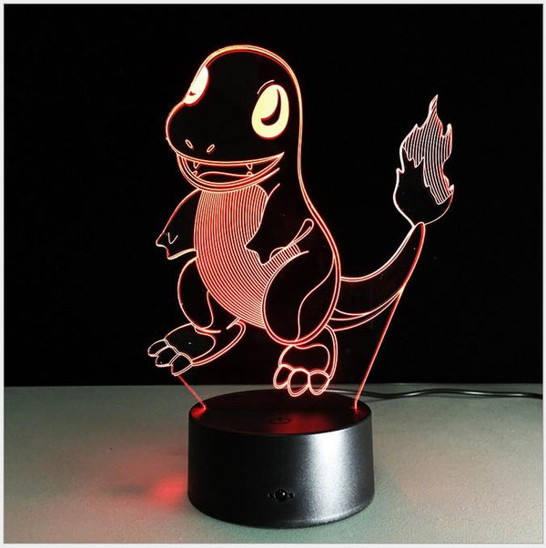 Salamèche Pokémon Lampe optique LED illusion 3D 🔥 - Ma Deco Maison