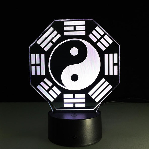 Yin et Yang Lampe optique LED illusion 3D - Ma Deco Maison