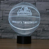 Minnesota Timberwolves Lampe optique LED illusion 3D 🏀 - Ma Deco Maison