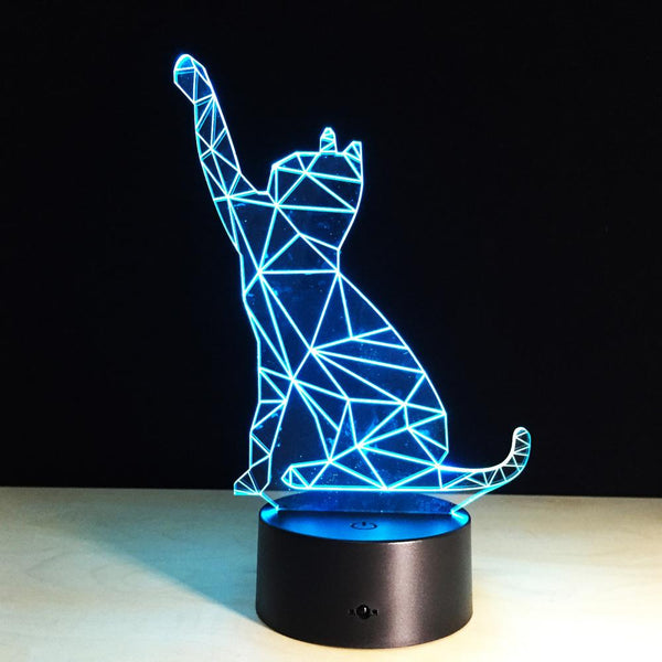Chat géométrique Lampe optique LED illusion 3D 🐈 - Ma Deco Maison