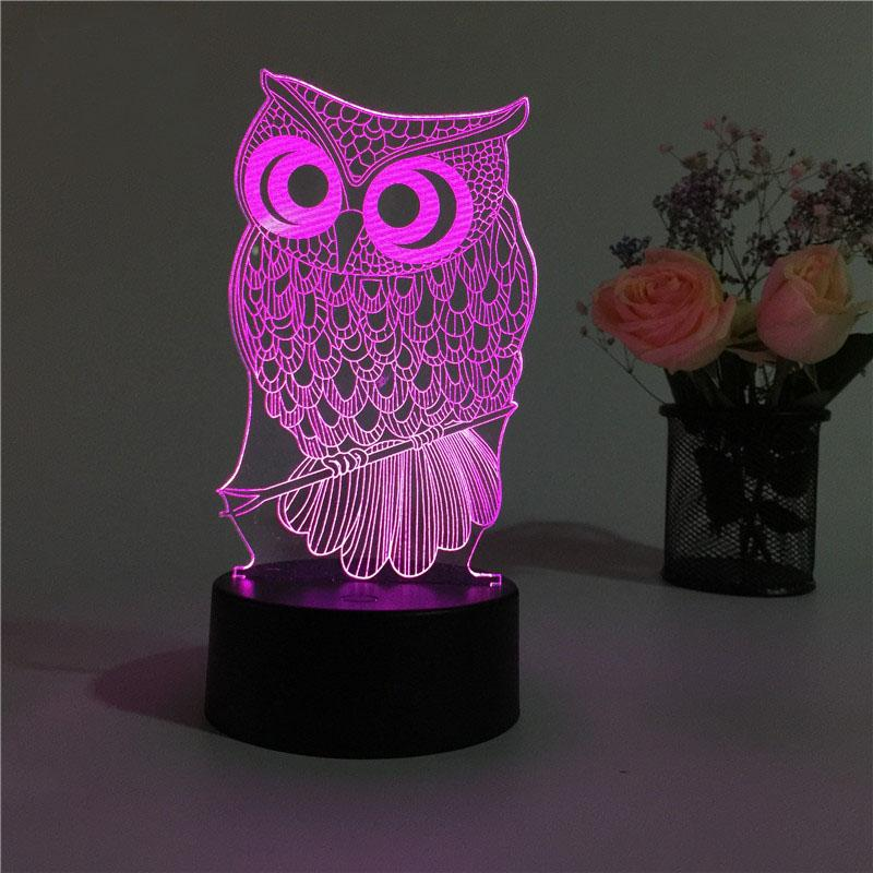 Hibou Lampe optique LED illusion 3D 🦉 - Ma Deco Maison