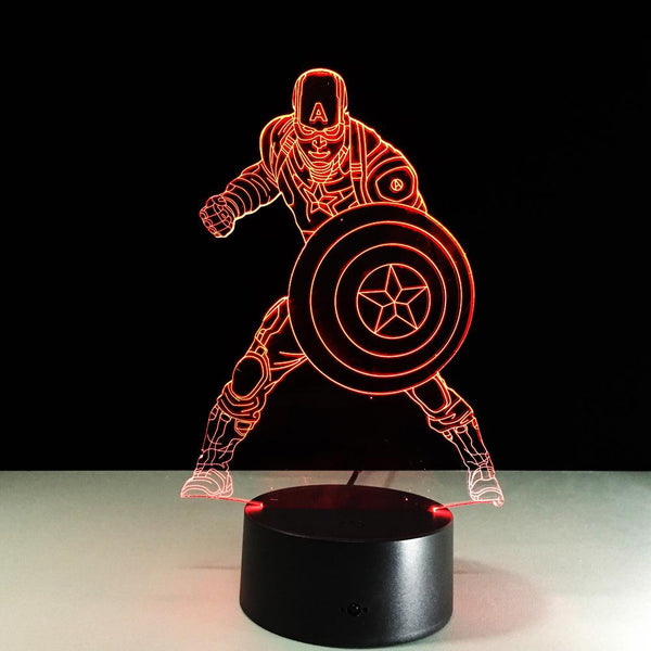 Captain America Lampe optique LED illusion 3D - Ma Deco Maison