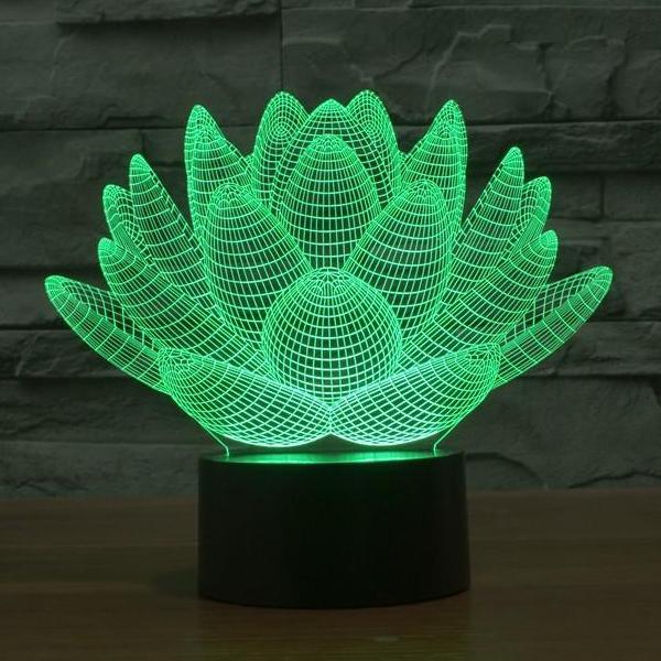 Fleur de Lotus Lampe optique LED illusion 3D - Ma Deco Maison