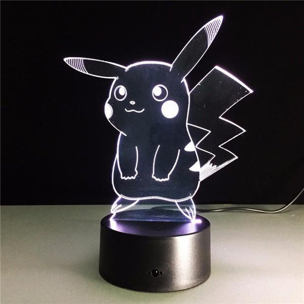 Pikachu Pokémon Lampe optique LED illusion 3D ⚡ - Ma Deco Maison