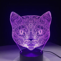 Chat artistique Lampe optique LED illusion 3D 🐱 #2 - Ma Deco Maison