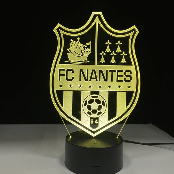 FC Nantes Logo Lampe optique LED illusion 3D ⚽ - Ma Deco Maison