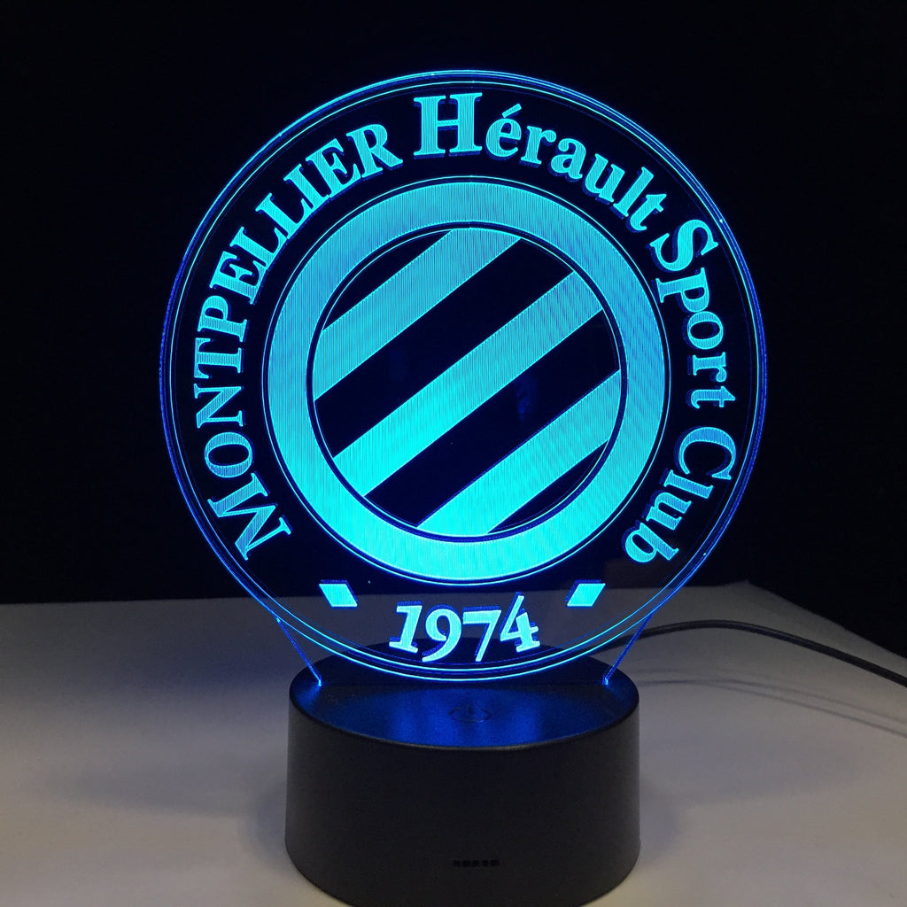 Montpellier HSC Logo Lampe optique LED illusion 3D ⚽ - Ma Deco Maison
