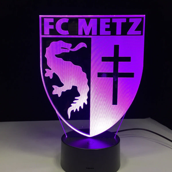 FC Metz Logo Lampe optique LED illusion 3D ⚽ - Ma Deco Maison