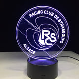 RC Strasbourg Logo Lampe optique LED illusion 3D ⚽ - Ma Deco Maison