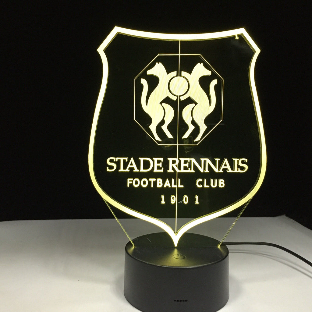 Stade Rennais FC Logo Lampe optique LED illusion 3D ⚽ - Ma Deco Maison