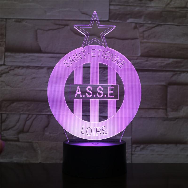 AS Saint Etienne Logo Lampe optique LED illusion 3D ⚽ - Ma Deco Maison