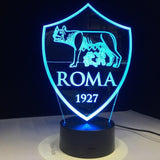 AS Roma Logo Lampe optique LED illusion 3D ⚽ - Ma Deco Maison