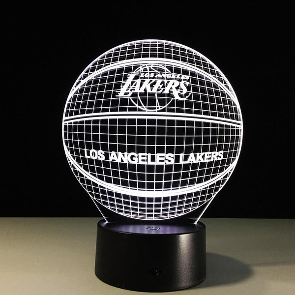 Los Angeles Lakers Lampe optique LED illusion 3D 🏀 - Ma Deco Maison