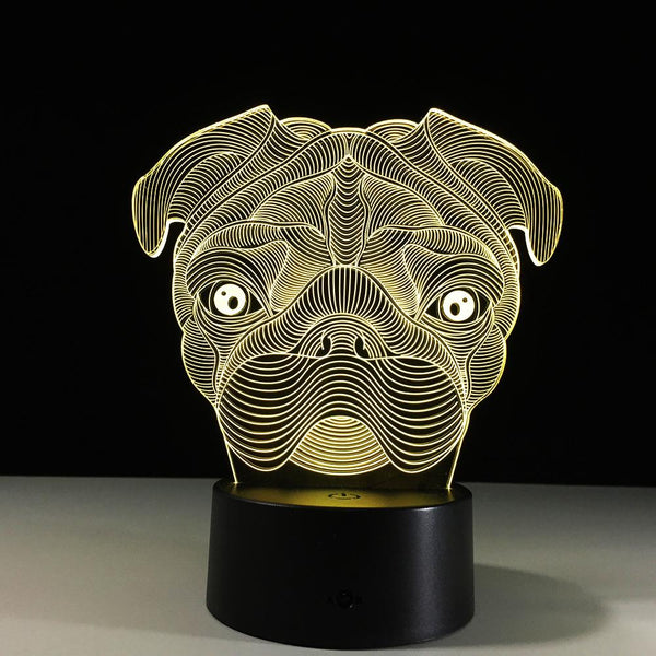 Chien Carlin Lampe optique LED illusion 3D 🐕 - Ma Deco Maison