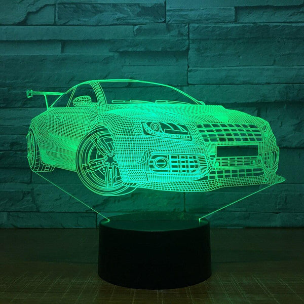 Voiture de Course Lampe optique LED illusion 3D 🚘 - Ma Deco Maison