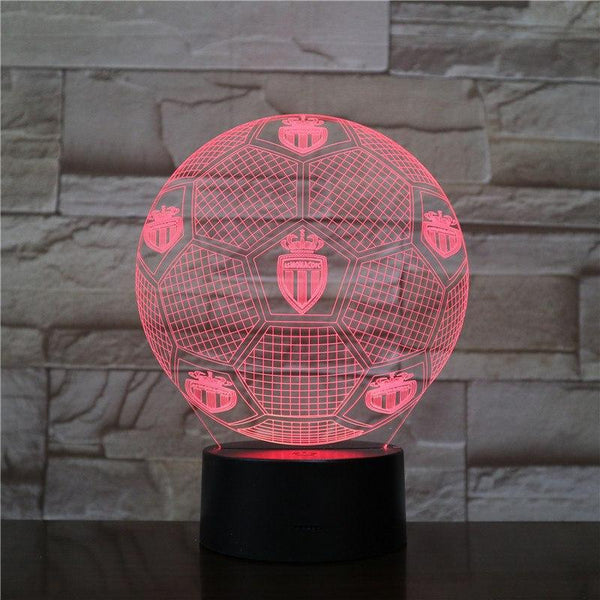 AS Monaco Ballon Lampe optique LED illusion 3D ⚽ - Ma Deco Maison