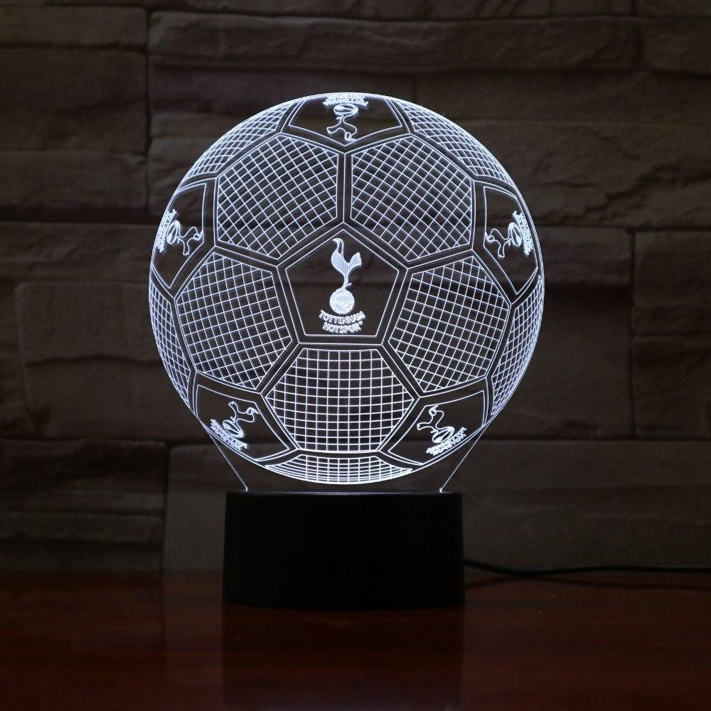 Tottenham Hotspur Ballon Lampe optique LED illusion 3D ⚽ - Ma Deco Maison