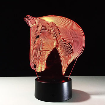 Cheval Lampe optique LED illusion 3D 🐴 - Ma Deco Maison