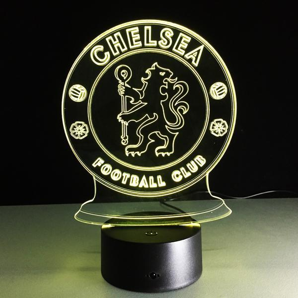 Chelsea FC Logo Lampe optique LED illusion 3D ⚽ - Ma Deco Maison