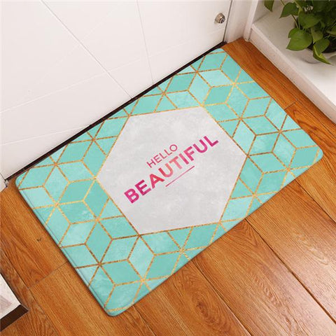 "Tapis polaire ""Hello Beautiful"" 60 x 40 cm - Ma Deco Maison"