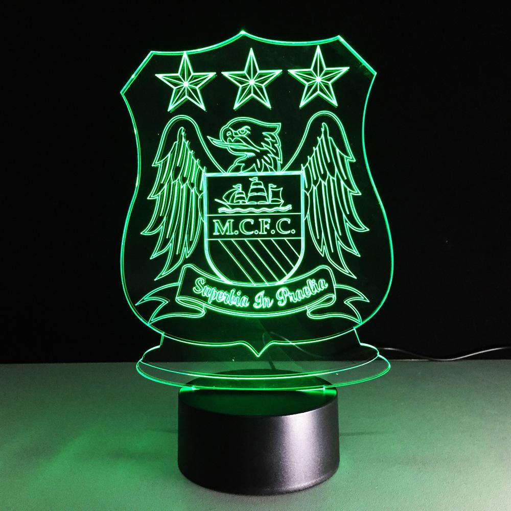 Manchester City FC Logo #2 Lampe optique LED illusion 3D ⚽ - Ma Deco Maison