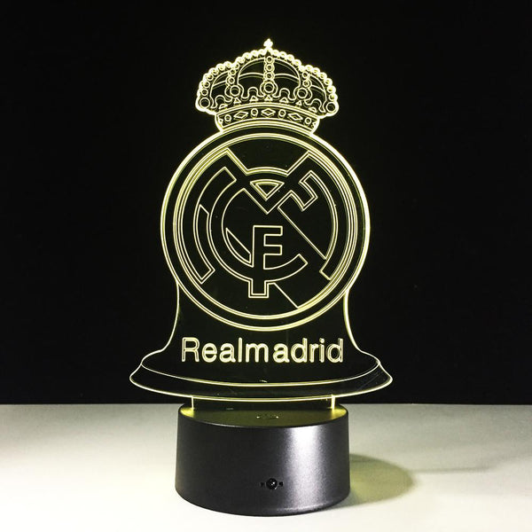 Real Madrid CF Logo Lampe optique LED illusion 3D ⚽ - Ma Deco Maison